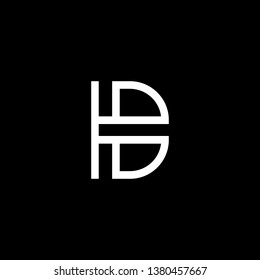 Outstanding professional elegant trendy awesome artistic black and white color HB BH HD DH initial based Alphabet icon logo.