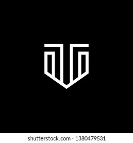 Outstanding professional elegant trendy awesome artistic black and white color TV VT initial based Alphabet icon logo.