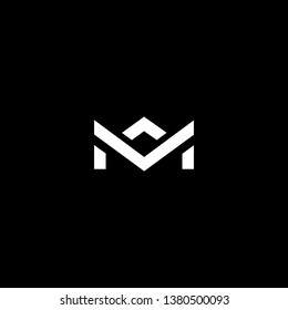 Outstanding professional elegant trendy awesome artistic black and white color MV VM MA AM initial based Alphabet icon logo.