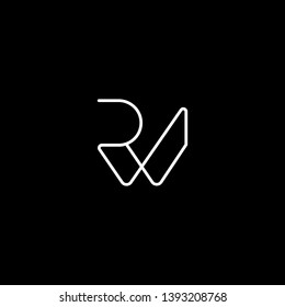 Outstanding professional elegant trendy awesome artistic black and white color PW WP RW WR initial based Alphabet icon logo.