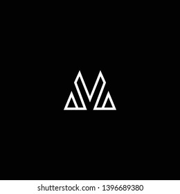 Outstanding professional elegant trendy awesome artistic black and white color M MV VM initial based Alphabet icon logo.