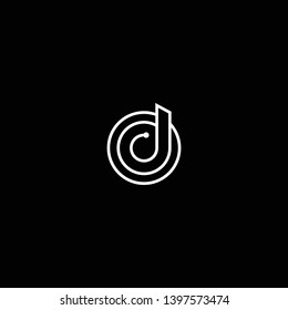 Outstanding professional elegant trendy awesome artistic black and white color D DO OD initial based Alphabet icon logo.