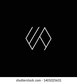Outstanding professional elegant trendy awesome artistic black and white color WA AW WR RW initial based Alphabet icon logo.