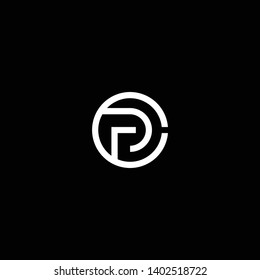 Outstanding professional elegant trendy awesome artistic black and white color CP PC initial based Alphabet icon logo.