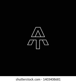 Outstanding professional elegant trendy awesome artistic black and white color AT TA initial based Alphabet icon logo.