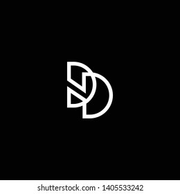 Outstanding professional elegant trendy awesome artistic black and white color DD DH HD initial based Alphabet icon logo.