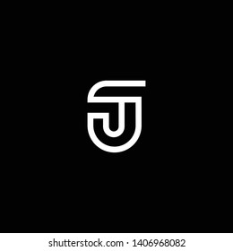 Outstanding professional elegant trendy awesome artistic black and white color SJ JS JT TJ initial based Alphabet icon logo.