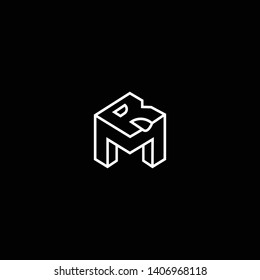 Outstanding professional elegant trendy awesome artistic black and white color MR RM initial based Alphabet icon logo.