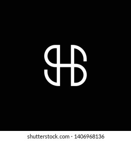 Outstanding professional elegant trendy awesome artistic black and white color HS SH GB BG initial based Alphabet icon logo.