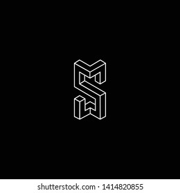 Outstanding professional elegant trendy awesome artistic black and white color S SS SM MS SW WS initial based Alphabet icon logo.