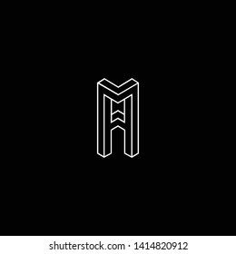 Outstanding professional elegant trendy awesome artistic black and white color AA FF AM MA initial based Alphabet icon logo.
