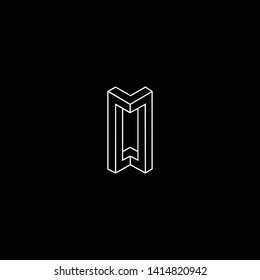Outstanding professional elegant trendy awesome artistic black and white color M W MW WM initial based Alphabet icon logo.