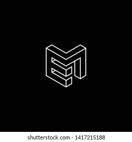 Outstanding professional elegant trendy awesome artistic black and white color EM ME initial based Alphabet icon logo.