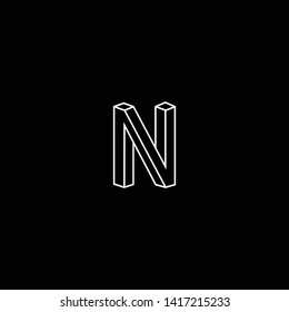 Outstanding professional elegant trendy awesome artistic black and white color N NN NV VN AN NA initial based Alphabet icon logo.