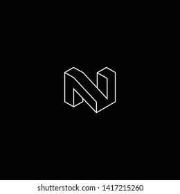 Outstanding professional elegant trendy awesome artistic black and white color N NN initial based Alphabet icon logo.