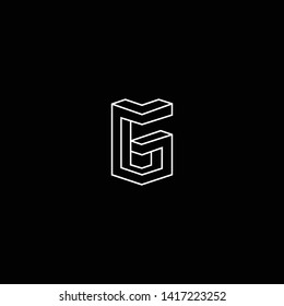 Outstanding professional elegant trendy awesome artistic black and white color G GG GM MG initial based Alphabet icon logo.