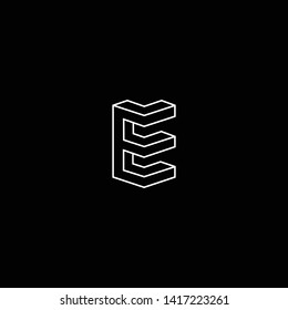 Outstanding professional elegant trendy awesome artistic black and white color E EE EM ME initial based Alphabet icon logo.