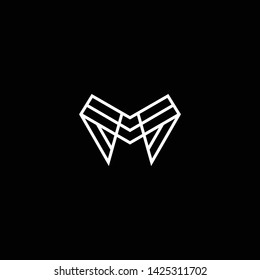 Outstanding professional elegant trendy awesome artistic black and white color M MM MMM MA AM initial based Alphabet icon logo.