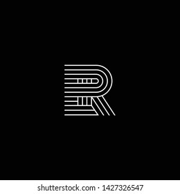 Outstanding professional elegant trendy awesome artistic black and white color ER RE initial based Alphabet icon logo.