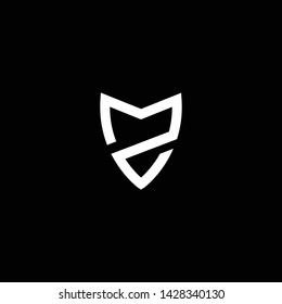Outstanding professional elegant trendy awesome artistic black and white color ZM MZ initial based Alphabet icon logo.