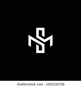 Outstanding professional elegant trendy awesome artistic black and white color MS SM initial based Alphabet icon logo.