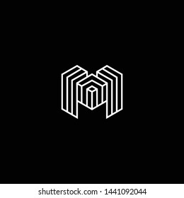 Outstanding professional elegant trendy awesome artistic black and white color M MM MMM initial based Alphabet icon logo.