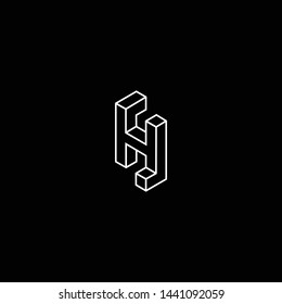 Outstanding professional elegant trendy awesome artistic black and white color H HH HJ JH SH HS initial based Alphabet icon logo.