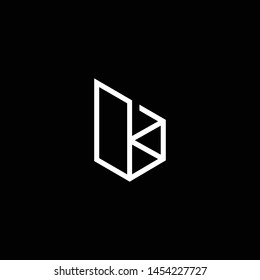 Outstanding professional elegant trendy awesome artistic black and white color B BK KB initial based Alphabet icon logo.
