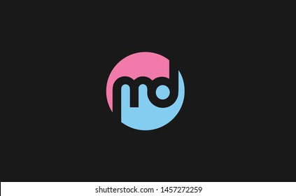 Outstanding professional elegant trendy awesome artistic pink and blue color md initial based Alphabet icon logo