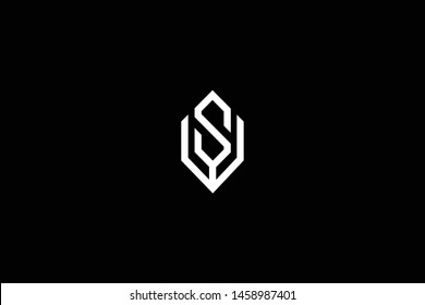Outstanding professional elegant trendy awesome artistic black and white color WS SW VS SV initial based Alphabet icon logo.