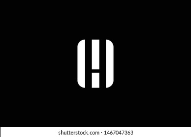 Outstanding professional elegant trendy awesome artistic black and white color MH HM WH HW MW WM initial based Alphabet icon logo.