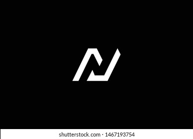 Outstanding professional elegant trendy awesome artistic black and white color N NJ JN initial based Alphabet icon logo.