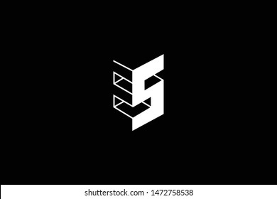 Outstanding professional elegant trendy awesome artistic black and white color ES SE initial based Alphabet icon logo.