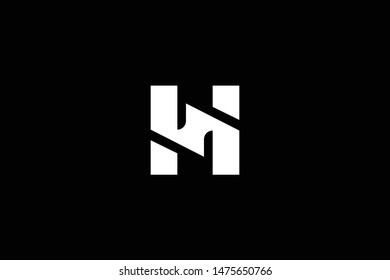 Outstanding professional elegant trendy awesome artistic black and white color H HS SH initial based Alphabet icon logo.
