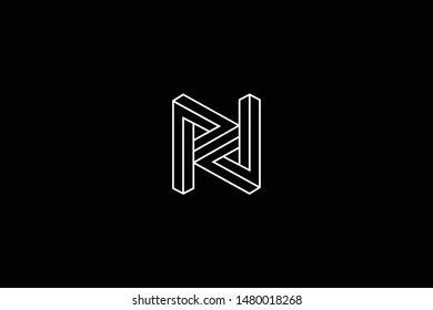 Outstanding professional elegant trendy awesome artistic black and white color N NN RN NR initial based Alphabet icon logo.