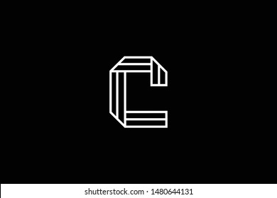 Outstanding professional elegant trendy awesome artistic black and white color C CC CCC CL LC initial based Alphabet icon logo.