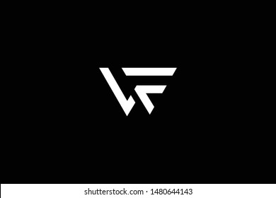 Outstanding professional elegant trendy awesome artistic black and white color VF FV WF FW initial based Alphabet icon logo.