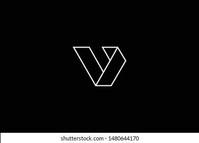 Outstanding professional elegant trendy awesome artistic black and white color V VV B BB BV VB initial based Alphabet icon logo.