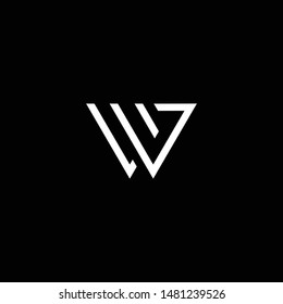 Outstanding professional elegant trendy awesome artistic black and white color W WV VW UV VU initial based Alphabet icon logo.