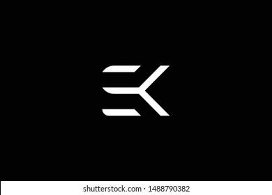 Outstanding professional elegant trendy awesome artistic black and white color SK KS EK KE initial based Alphabet icon logo.