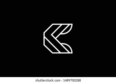 Outstanding professional elegant trendy awesome artistic black and white color C CC CF FC initial based Alphabet icon logo.