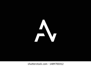 Outstanding professional elegant trendy awesome artistic black and white color AZ ZA AN NA FN NF FZ ZF initial based Alphabet icon logo.