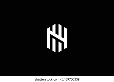 Outstanding professional elegant trendy awesome artistic black and white color HN NH NU UN initial based Alphabet icon logo.