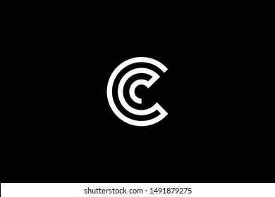 Outstanding professional elegant trendy awesome artistic black and white color C CC CCC initial based Alphabet icon logo.