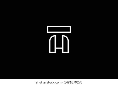 Outstanding professional elegant trendy awesome artistic black and white color MT TM HT TH initial based Alphabet icon logo.