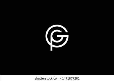 Outstanding professional elegant trendy awesome artistic black and white color GP PG initial based Alphabet icon logo.