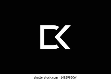 Outstanding professional elegant trendy awesome artistic black and white color DK KD CK KC initial based Alphabet icon logo.