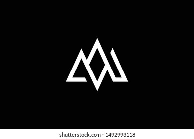 Outstanding professional elegant trendy awesome artistic black and white color MW WM initial based Alphabet icon logo.