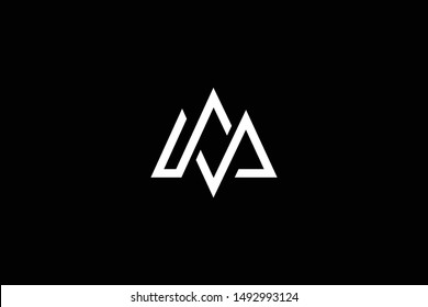 Outstanding professional elegant trendy awesome artistic black and white color MW WM MS SM initial based Alphabet icon logo.
