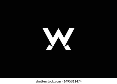 Outstanding professional elegant trendy awesome artistic black and white color AW WA initial based Alphabet icon logo.